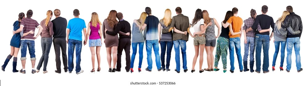 Back view group of couple. Rear view people pair collection.  backside view of person.  Isolated over white background.