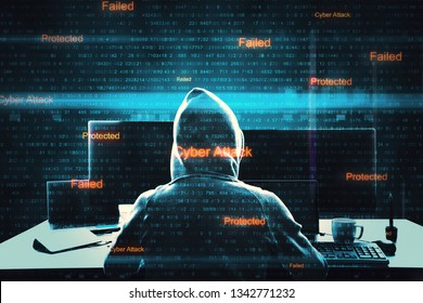 Back view of hacker at desktop using computers with digital interface. Malware and cyber attack concept. Double exposure