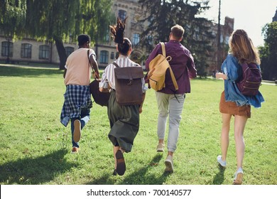 back view of happy multicultural students running to college in park
