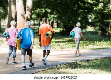 back view of happy senior and multicultural pensioners holding fitness mats and walking on grass