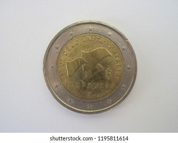 Back view of Italian two euro coin. Italy 2 euro – 150th anniversary of unification of Italy. Great for numismatic collection.