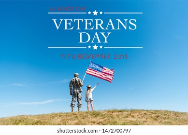 back view of kid in straw hat and military father holding american flags with veterans day illustration