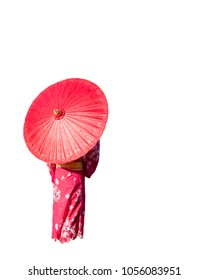 Back view of kimono woman holding traditional red umbrella isolated on white background