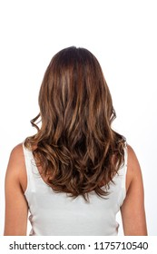Back view of light brown wavy hair