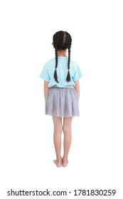 Back view little asian child girl with pigtail hair isolated over white background.