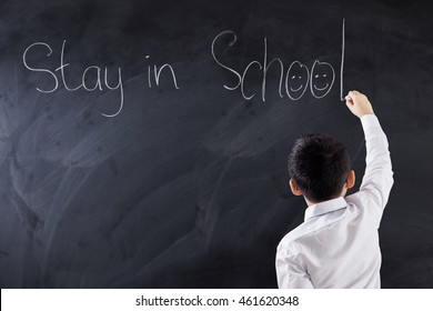 Back view of a little boy writes text of Stay in School with a chalk on the blackboard, shot in the classroom