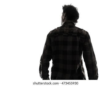 Back view male person silhouette