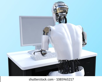 Back view of a male robot sitting and working with a computer, 3D rendering. Bluish background.