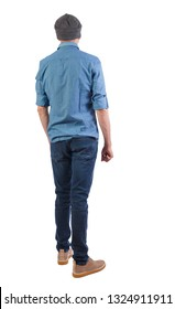 Back view of man in gray hat. Standing young guy. Rear view people collection.  backside view of person.  Isolated over white background. The guy in the shirt and cap looks in front of him.