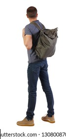 Back view of a man with a green bag.  backside view of person.  Rear view people collection. Isolated over white background. tourist with a backpack behind his back tiredly looking forward.