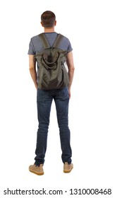 Back view of a man with green bag.  backside view of person.  Rear view people collection. Isolated over white background. Tourist with a backpack on his shoulders stands with his hands in his pockets