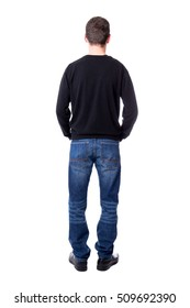 back view of man isolated on white background