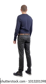 Back view of man in jeans. Standing young guy. Rear view people collection.  backside view of person.  Isolated over white background. a shortly cropped man in his trousers is side by side.