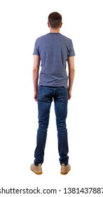 Back view of man in jeans. Standing young guy. Rear view people collection.  backside view of person.  Isolated over white background. The guy in the shirt is looking forward.