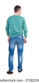 Back view of man in jeans. Standing young guy. Rear view people collection.  backside view of person.  Isolated over white background.