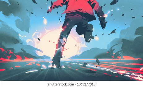 back view of man running with motion effect, digital art style, illustration painting