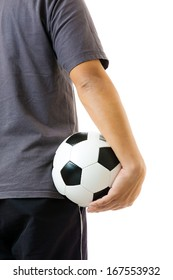 Back view of man with soccer ball