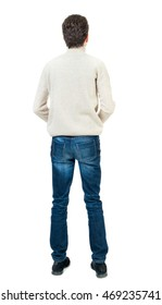 Back view of man . Standing young guy. Rear view people collection.  backside view of person.  Isolated over white background. Man in trousers and jacket standing with her hands. Curly short-haired