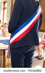 back view of the mayor of the city during an official celebration