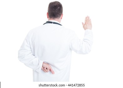 Back view of medic or doctor with fingers crossed lying about Hippocratic oath isolated on white background