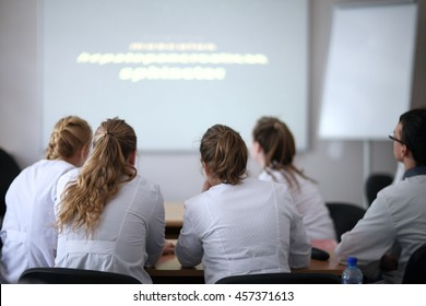 Back view of medical students during a lecture