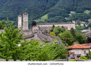 The back view of the Medieval fortification Castelgrande, Bellinzona, Canton Ticino, Switzerland