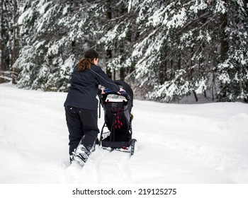 A back view of a mother pushing a jogging stroller through deep snow in a park landscape setting during the winter season.