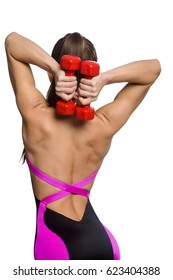 Back view on overhead triceps extension exercise. Slim girl doing workout routine and wearing stylish sport outfit. Vertical studio shot, isolated on white.