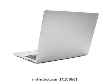 Back view of Open laptop computer. Modern thin edge slim design. mockup and gray metal aluminum material body isolated on white background with clipping path.