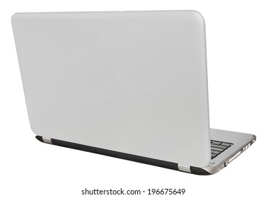 back view of open laptop display cover isolated on white background