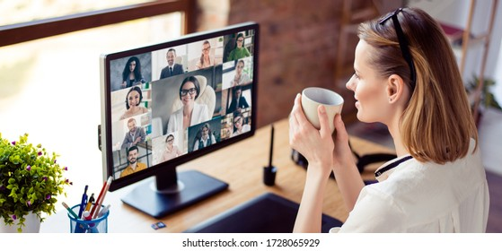 Back view photo of woman worker have webcam group conference with her coworkers on modern computer at home, female employee speak talk on video chat call with diverse colleagues online brief collage
