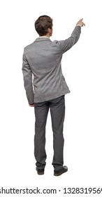 Back view of pointing business man. gesticulating young guy in black suit. Rear view people collection. Isolated over white background. Young businessman in gray suit shows thumb up.