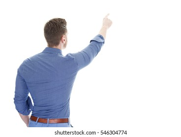 Back view of pointing business man pointing to the top.