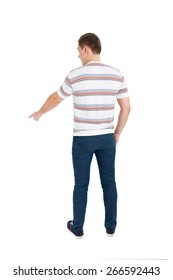 Back view of pointing young men. Rear view people collection. backside view of person. Isolated over white background.