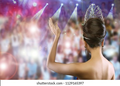 Back view Portrait of Miss Pageant Beauty Contest in Evening dress Diamond Crown, Woman fashion make up black hair Face Eyes Heart love, Crown people fanclub cheer celebrate the winner as backgrounds