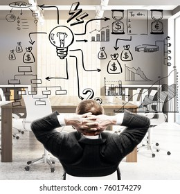 Back view of relaxing businessman in blurry office interior with abstract business sketch. Leadership and marketing concept. 3D Rendering