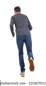 back view of running  man. backside view of person.  Rear view people collection. Isolated over white background. A man in a gray jacket runs off into the distance.