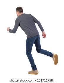 back view of running  man. backside view of person.  Rear view people collection. Isolated over white background. Stylish guy in a gray sweater in the pose of a running man.