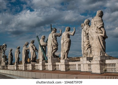 A back view of the sculptures on the roof of the Vatican.
