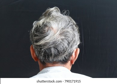 Back view of senior man, grey hair