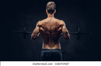 Back view of shirtless man with stylish hair and muscular ectomorph doing the exercises with the barbell.