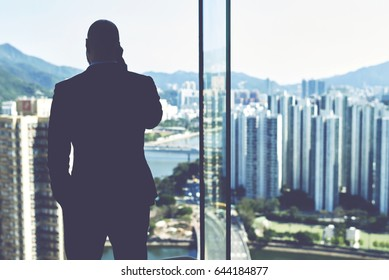 Back view of a skilled businessman is having serious mobile phone conversation with investor about help in financing his company, while is standing near office window with view of tall skyscrapers