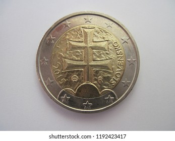 Back view of Slovak two euro coin. Slovakia 2 euros - Coat of arms of Slovakia. Great for numismatic collection.
