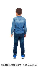Back view of a small child with denim shirt isolated on a white background