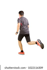 back view of sport man wearing exercise suit running forward isolated white background