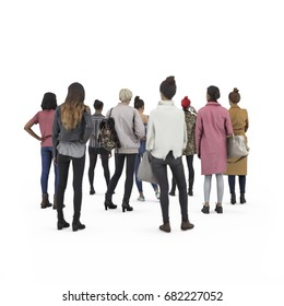 Back view of standing crowd girls. Illustration on white background, 3d rendering isolated.