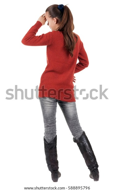 back view of standing young beautiful  woman.  brunette girl in jeans . Rear view people collection.  backside view of person.  Isolated over white background.