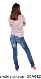 back view of standing young brunette woman. girl  arms folded. Rear view people collection.  backside view of person.  Isolated over white background.