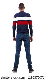 Back view of a stylish man in a multi-colored sweater. Rear view people collection.  backside view of person.  Isolated over white background.
