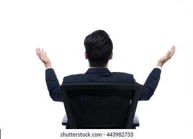 Back view of Successful excited Business man sitting in chair, young businesspeople smile raised hands arms, Isolated over white background, asian people